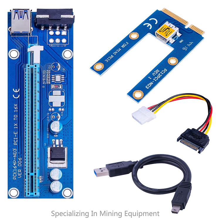 Mini PCI-E to pcie adapter 006C MINI 6 pin PCIE riser card 1X to 16X New Socket USB 3.0 Extension Cable 45CM Bitcoin