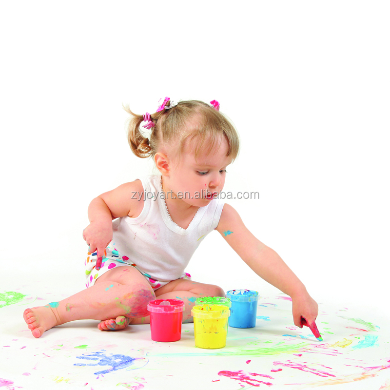 Free Sample Basic 4 Assorted Color Finger Paint Colour Set Kids Hand Painting Art
