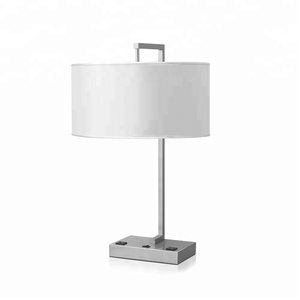 Brushed Nickel Finish Metal Table Lamp With Electric Port For Hotel Guestroom