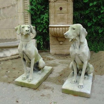A Pair Of Life Size Modern Stone Sitting Dog Sculpture For