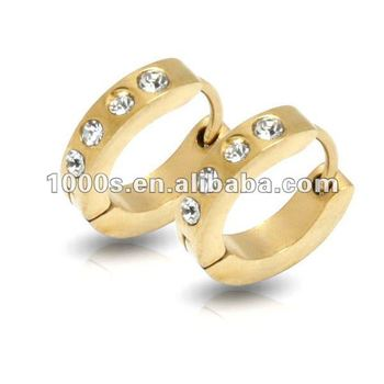 Boys Gold Plated Hoop Earring With Crystals