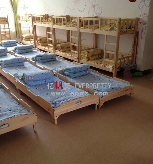 Modern Wood Daycare Furniture Cheap Kids Portable Folding Toddler Beds