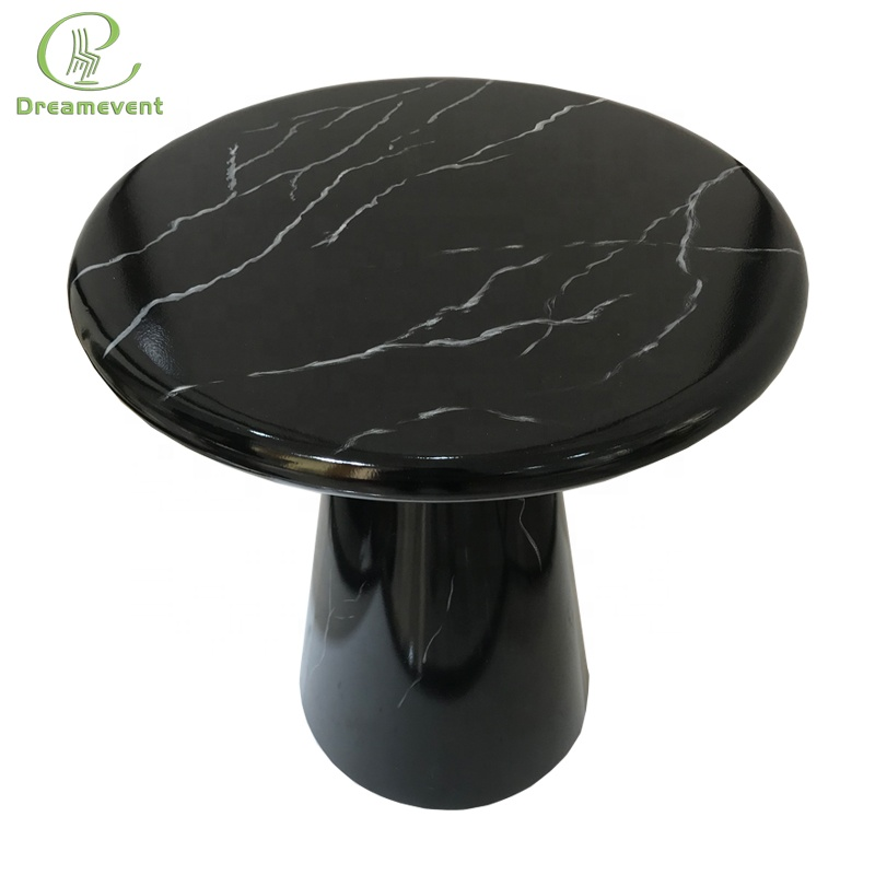 Small size imitated marble iron round Chinese modern tea table <strong>furniture</strong>