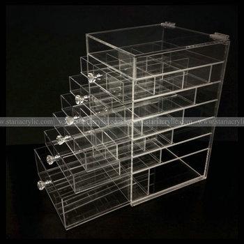 Diamond Handle Clear Acrylic Makeup Organizer Acrylic Makeup Drawer Box Flip Cover Acrylic Cosmetic