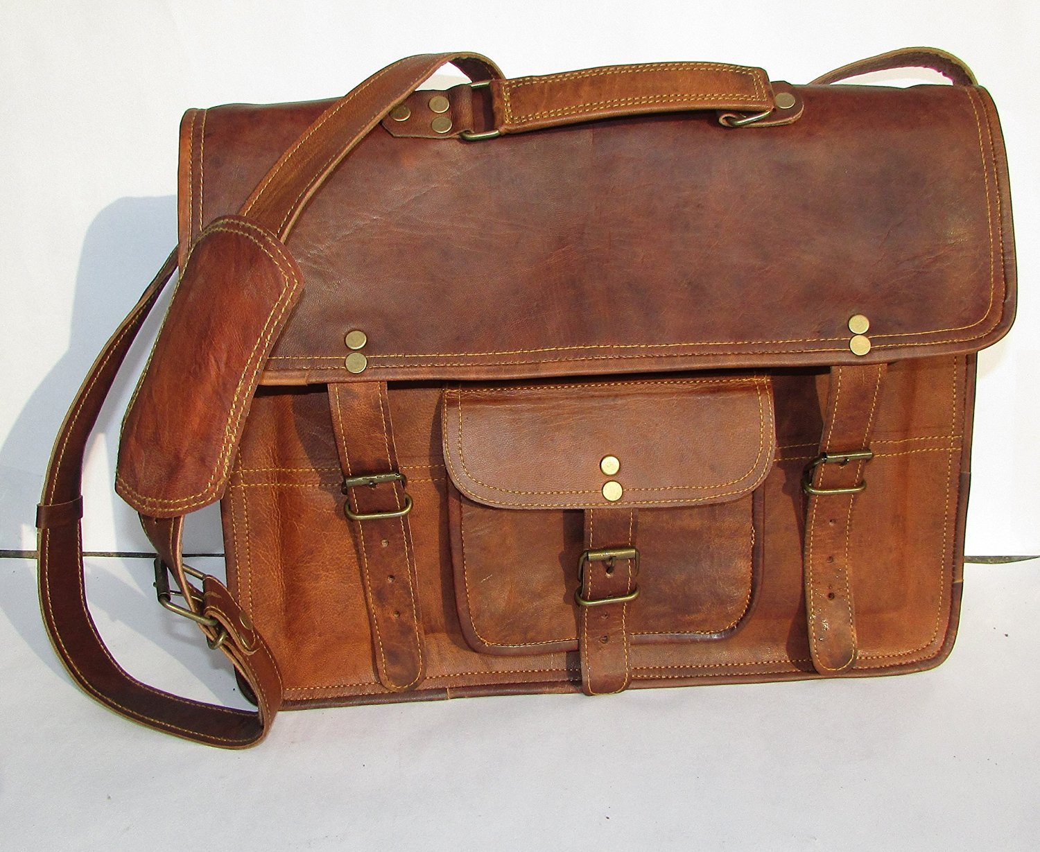 """LEATHER BAGS 4 YOU 15"""" Inches Unisex Original Leather Messenger Laptop Bag"""