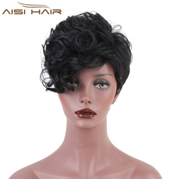 Short Curly Wave Pixie Cut Wig For African American Women Natural Black  Full Wig High Temperature fceb1dd91