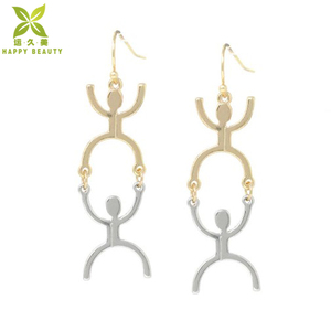 Innovative new products metal men two tone drop earrings