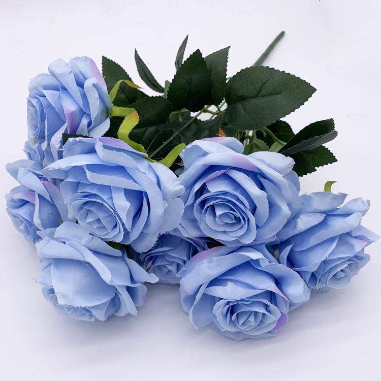 الأزرق 9 رؤساء بوكيه ورد صناعي باقة الزهور Buy باقة ورد زرقاء باقة زهور اصطناعية زرقاء باقة زهور Product On Alibaba Com