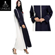 Blue and white muslim ladies clothing zipper arabic indonesia muslim dress