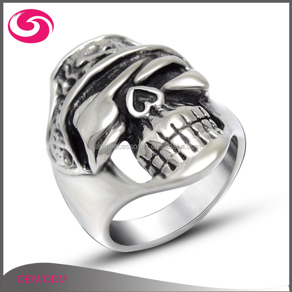 New Design Pirate Eye Engraved Cheap Silver Skull Ring