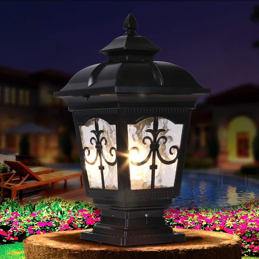 European Fence Pole Wall-mounted Lights Villa Garden Courtyard Pillar Lamp Outdoor Waterproof Column Headlight Aluminum Glass Fashion E27 Landscape Streetlights Exterior Gate Lawn Entrance Pillar Lamp