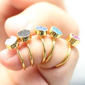 AM-YGH272 Druzy Jewelry Round Druzy Beads Rings Popular Opening Ring Adjustable Index Finger Tail Children Ring