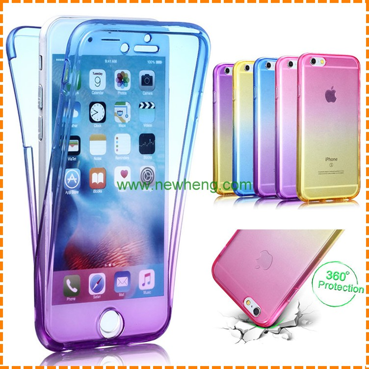 360 Smart Touch Gradient full cover TPU Clear Case For iPhone 6 plus
