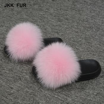 jkk fur soft children real fur slippers baby sandals kids fox slides