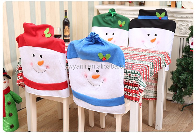 Cheap Kitchen Dining Room Chair Back Cover Santa Snowman Reindeer Seat Covers Christmas