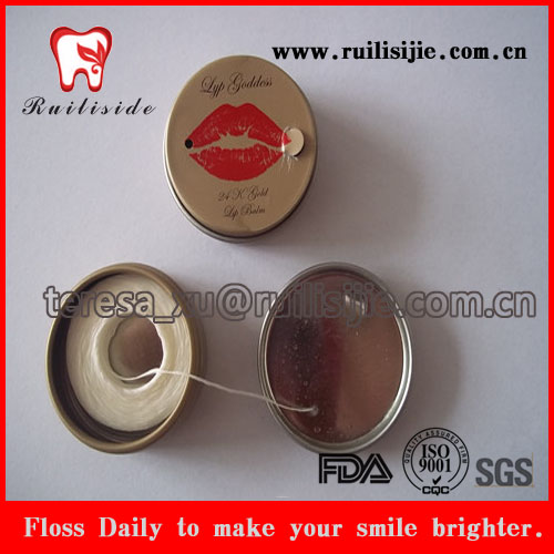Eco-friendly dental floss Tin box package dental flosser without plastic dental floss box