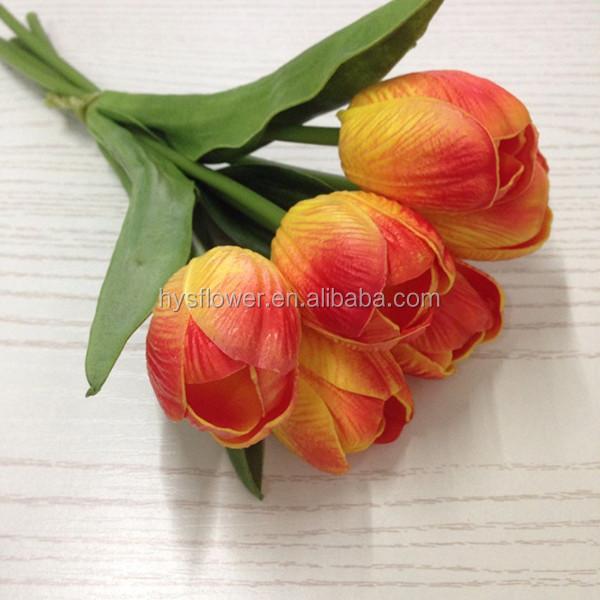 6 Head Pu Tulip Bouquet Wedding Tulip Flowers Red Fake ...