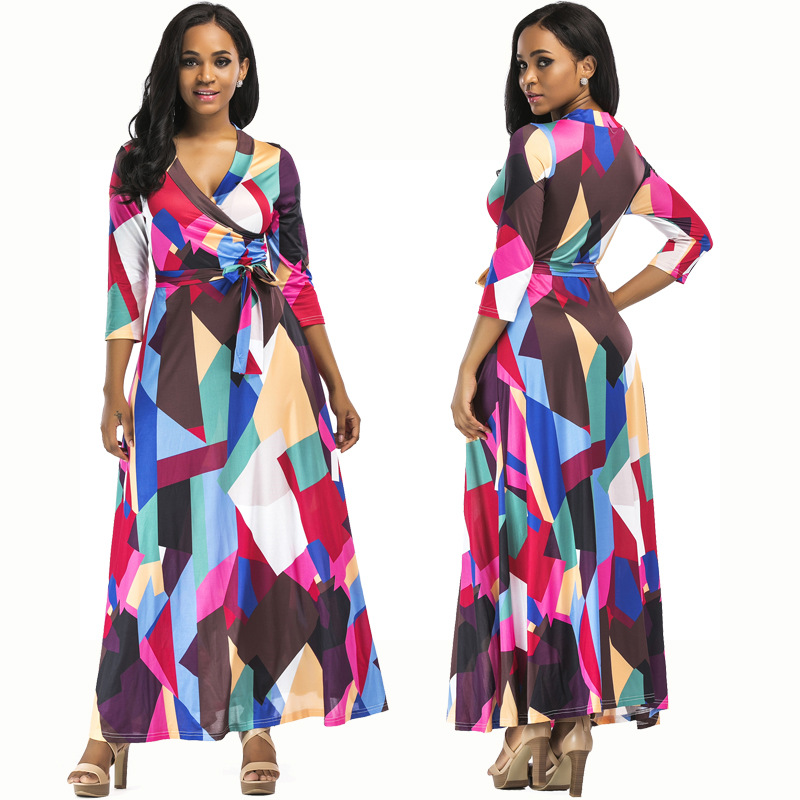 Hot selling spandex polyester long sleeve maxi dress sexy v-neck geometric figure print beach dress