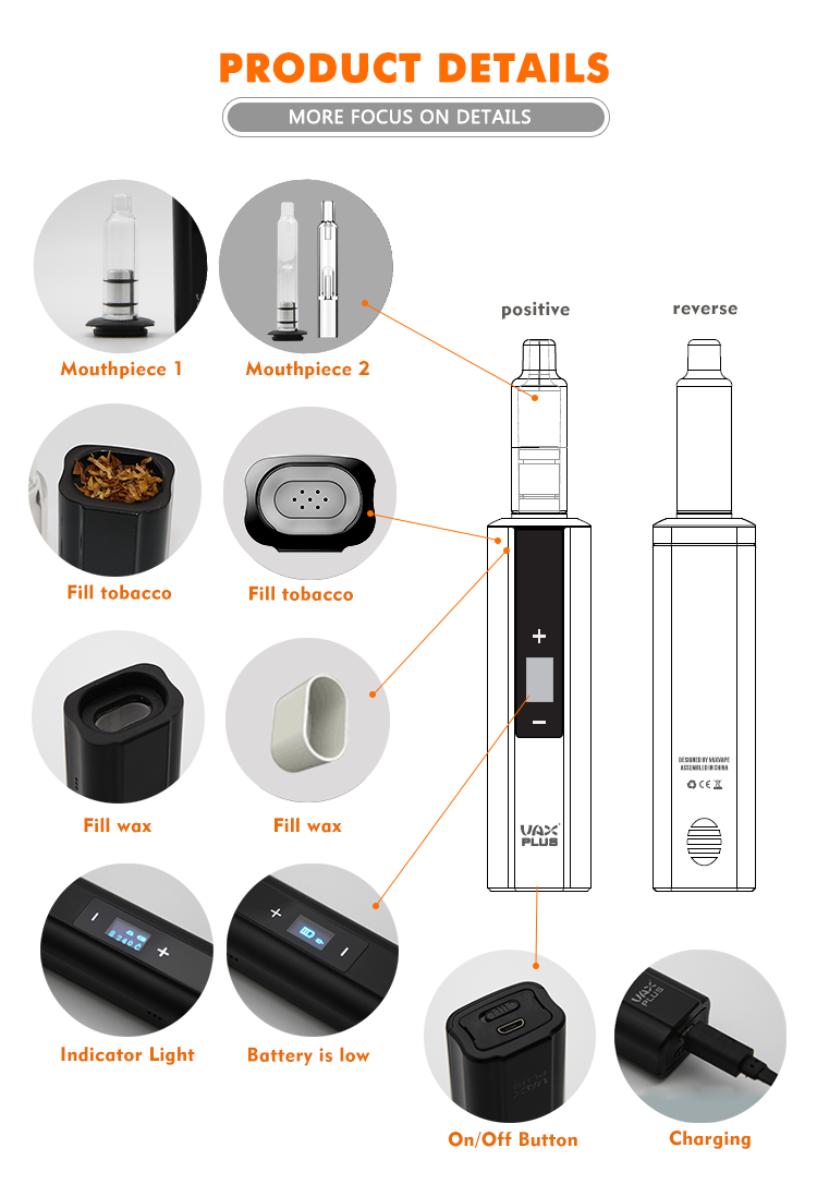 VAX PLUS Ceramic Heating Chamber vaporizer dry herb with OLED screen with patent
