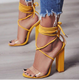 YX10T332 2018 New Arrival High Chunky Heel Lace-up Sandals For Women With Ankle Strap
