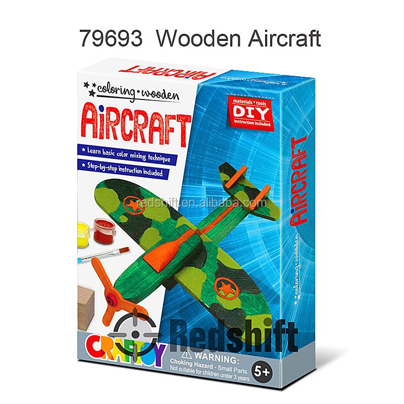 الحرفية لون نفسك الطائرات الخشبية لعبة كيت التصميم الخاص بك