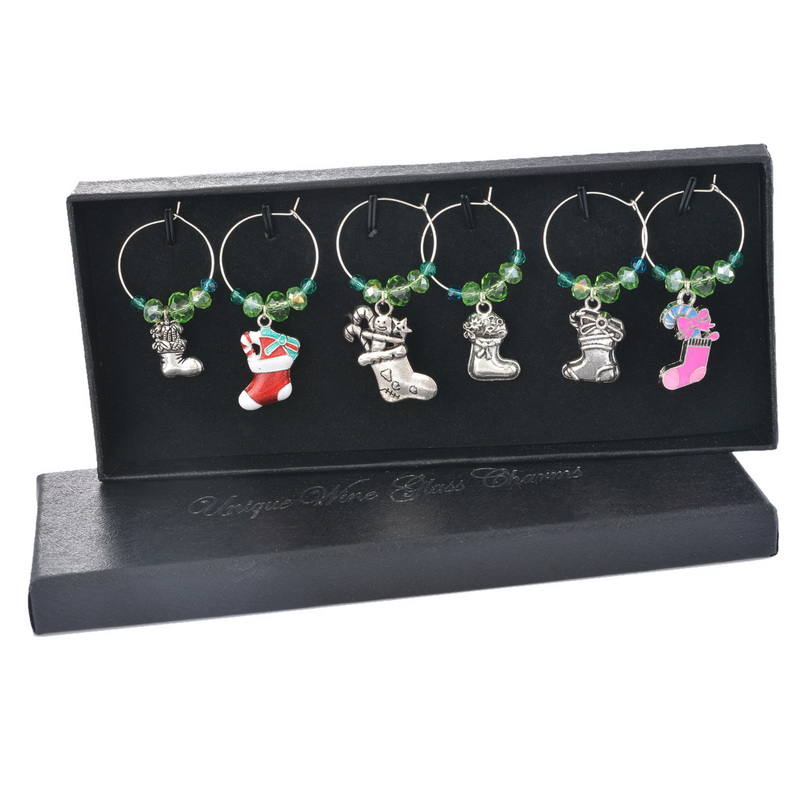 Party Decoration 1Box Green Crystal  Enamel Pendant Christmas Collection Wine Glass Charms Christmas Dinner Table Decoration