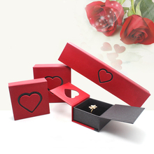Fancy Jewelry Ring Box Storage Case Romantic Heart Shaped Proposal Engagement Coin Gift Charm Jewelry Display Holder Organizer