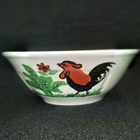 ceramic salad bowl with chicken decal