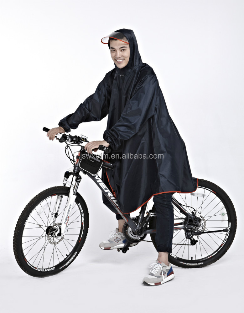 Rain Poncho With Logo Bike Poncho Nylon Rain Suit Black Rain
