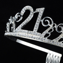Rhinestone 21st Birthday Crown Tiaras 21st Birthday Decorations