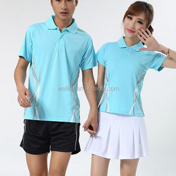 dd2684ac3 Light blue women badminton jersey unisex polo shirt with shorts wholesale  badminton wear in stock