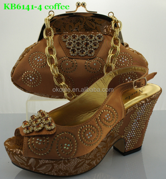 italian ladies shoes and matching bags ,coffee brown matching beautiful shoes with big stones and little beads