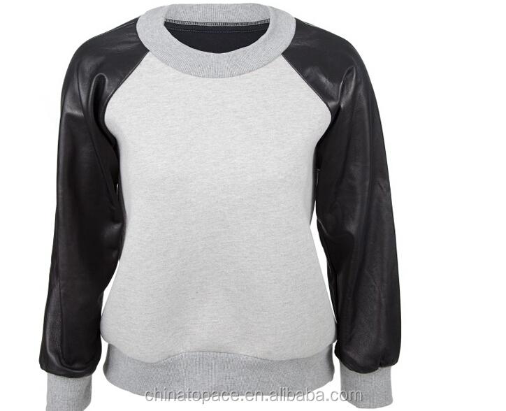 Wholesale 2015 custom wholesale men crewneck pullover leather ...