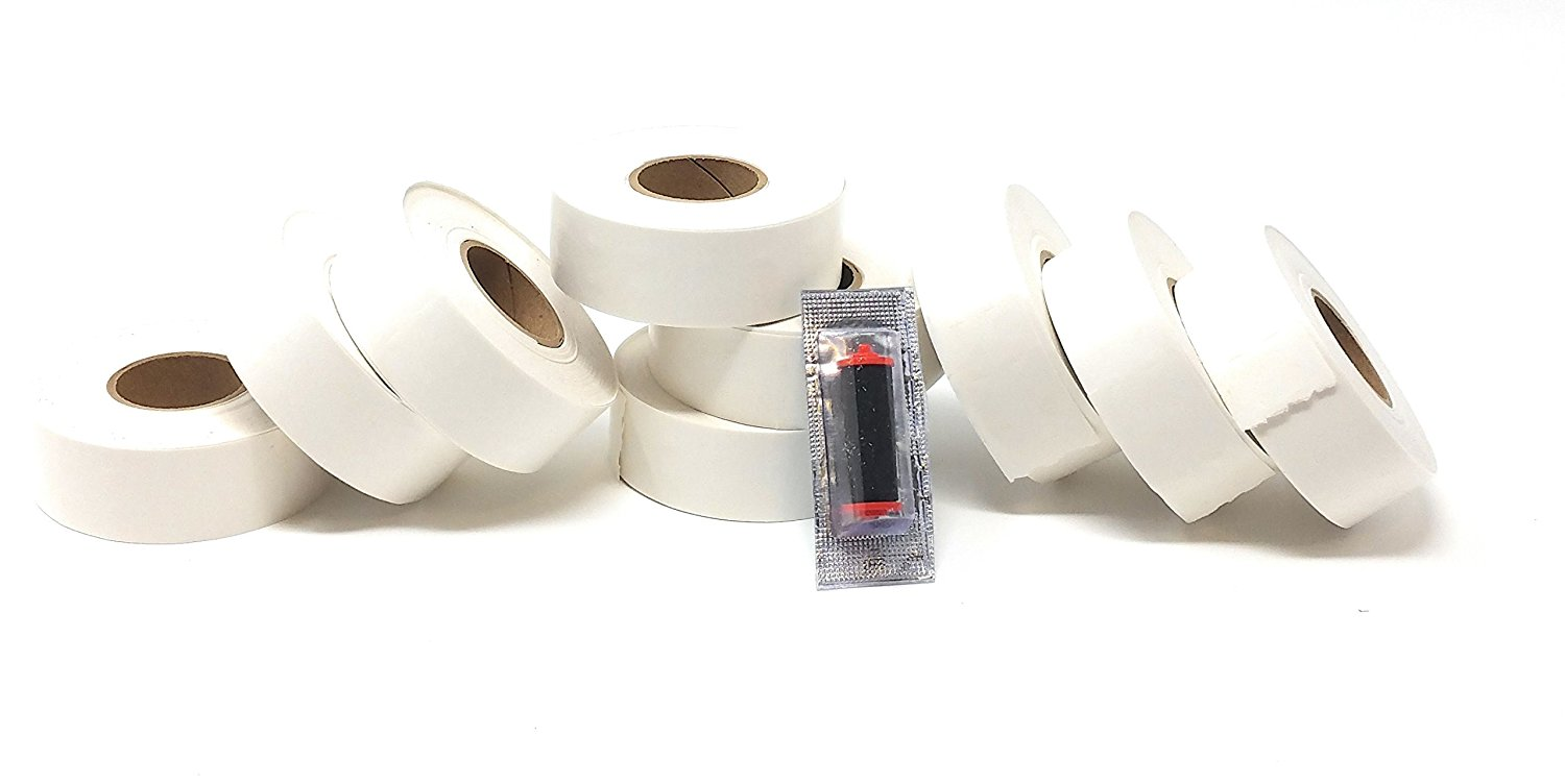 2216 White Pricing Labels for Garvey 22-66/22-77/22-88 Two Line Pricing Gun 9 Rolls - 9,000 Pricemarking Labels - With Bonus Ink Roll