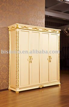 New Item Antique White And Gold Colour Hand Carved 4 Doors Wardrobe Made Of