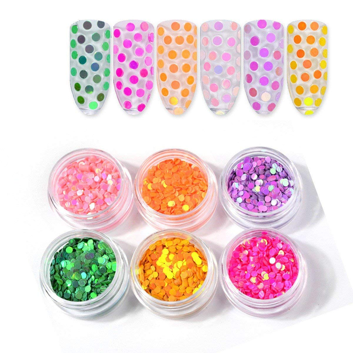 Mezerdoo 6pc/lot Candy Round Nail Sequins Paillette Glitter for Nails Art Manicure 3D Decoration Colorful Nail Beads Sweet Round Glitters