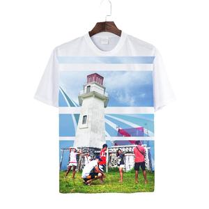 White Black Gray One-side Print Polyester Fabric Men T-shirt for Sublimation Printing Real Factory Custom Design Tee Shirt