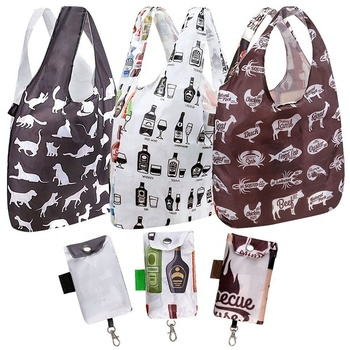 Shopping printed tote bag with attached pouch