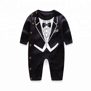 03bf8cc30bd8 Printed Elegant Prince Romper Baby Clothes