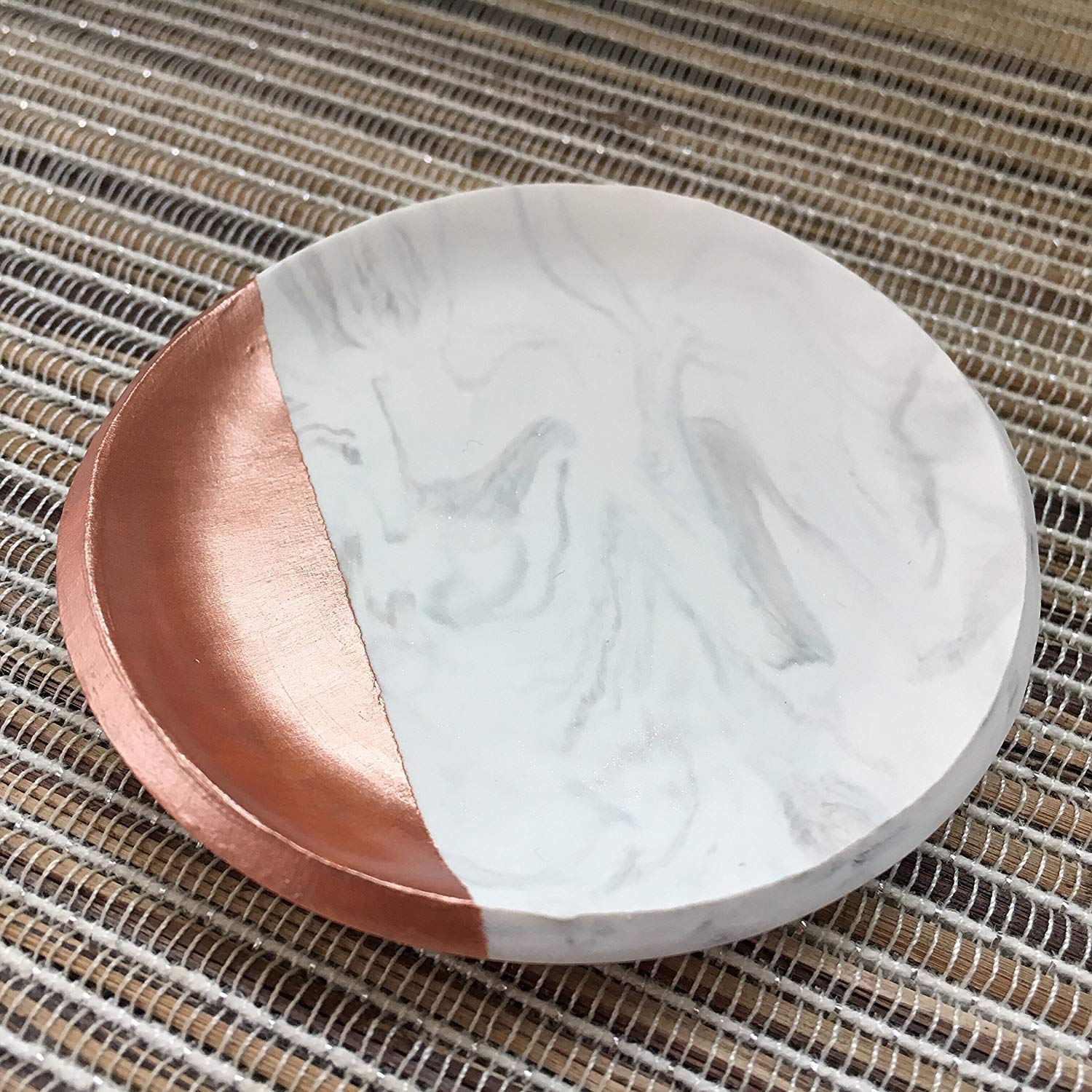 Rose Gold and Marble Jewelry Dish, Ring dish, Ring Holder