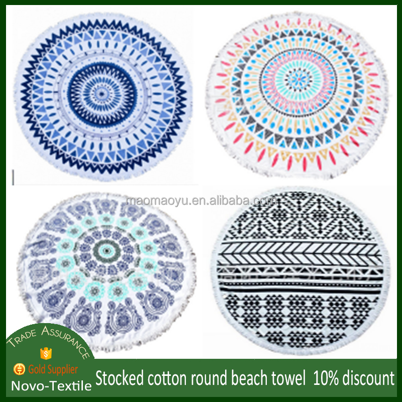 150cm soft absorbent large velour cotton mandala printed round beach towel