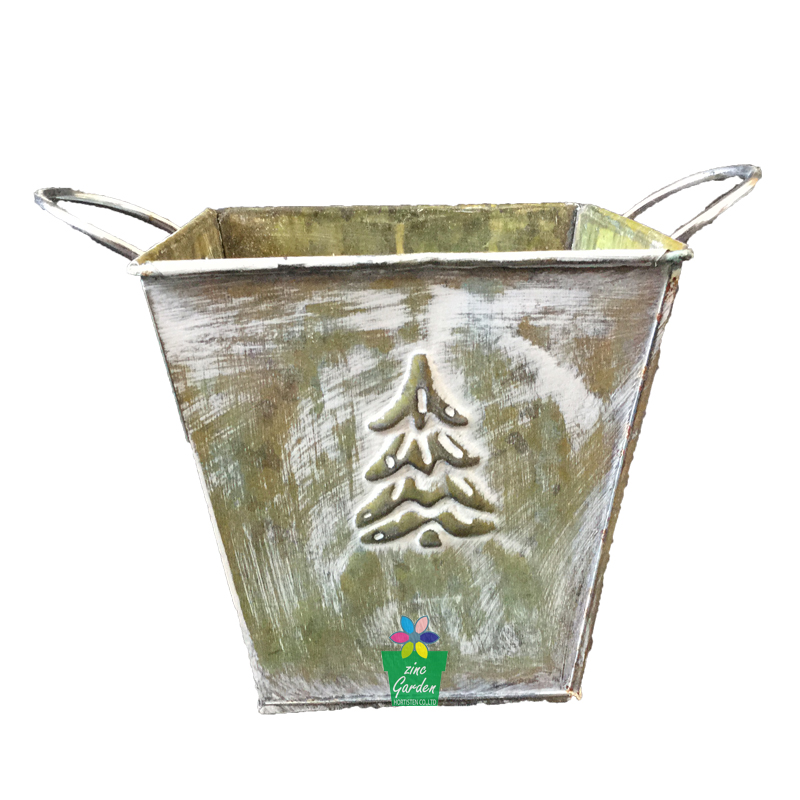 New design custom antique square bucket galvanized zinc metal flower bucket