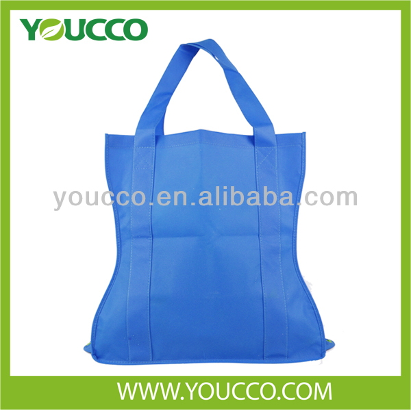 Cheap curve shaped non woven bag foldable reusable shopping bag
