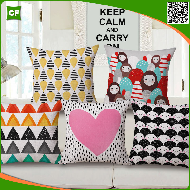 Multi-colors Creative Cute Fashion Geometric Printed Pink Heart Cushion Cover High Quality Polyester Pillow Case Decorative
