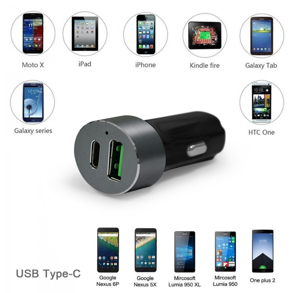 33W Quick Charge 3.0 9V 12V and Type C car charger with aluminum circle