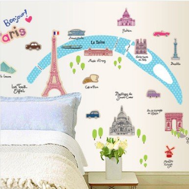 86*110cm Scenery Of Paris Eiffel Tower Wall Stickers Child Cartoon Home Decor Removable French Landscape Wall Stickers