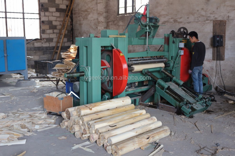 1-15mm wood core veneer rotary peeling lathe along with rotary veneer cutting machine