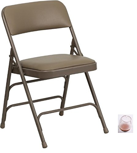 Flash Furniture Hercules Series Curved Metal Folding Chair, Beige, 8-Folding Chairs & Removable Silicone Caps (Floor Protectors)