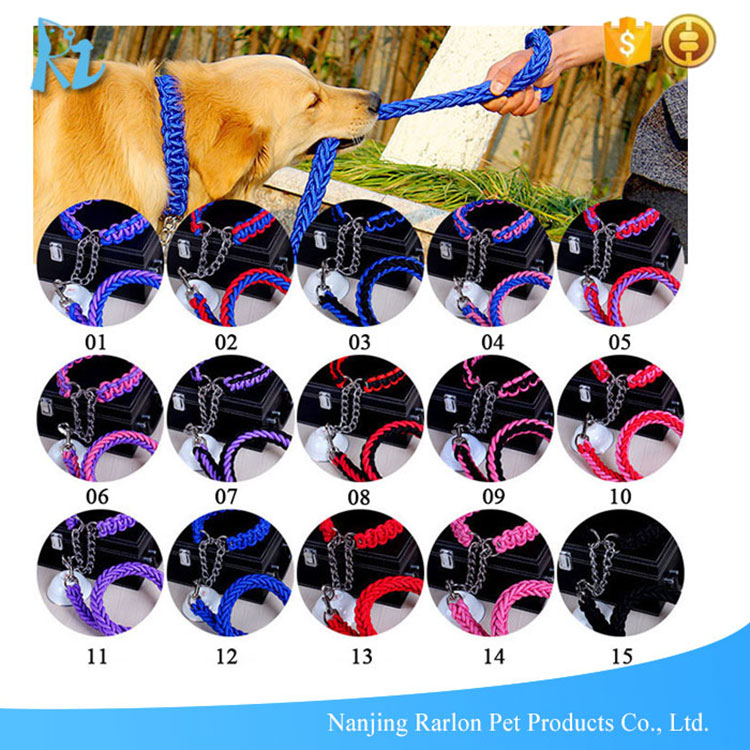 17 colors handmade strong nylon braided paracord dog rope leash