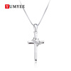 2019 New Style Vintage 925 Sterling Silver Jesus Zirconia Cross Womens Pendant Necklace